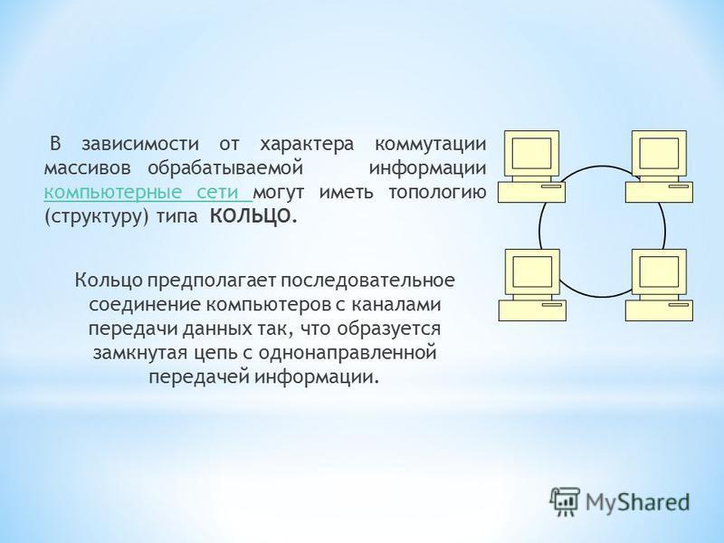 По размерам и технологии соединения компьютерные сети можно разделить на: *Л*Л окальные вычислительные сети – объединяют компьютеры ограниченного числа пользователей на ограниченной территории; *Г*Г лобальные сети – обеспечивают связь компьютеров, ра