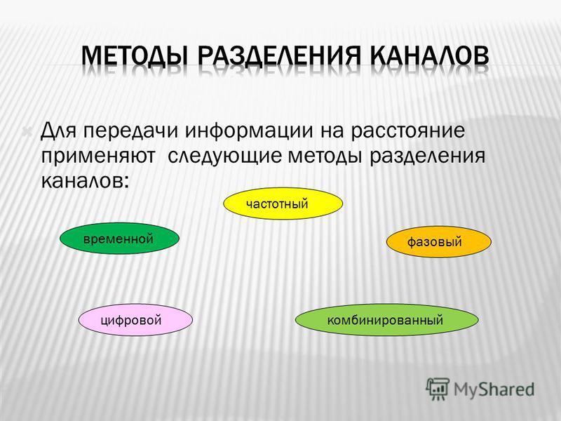 Для передачи информации на расстояние применяют следующие методы разделения каналов: временной частотный фазовый цифровой комбинированный