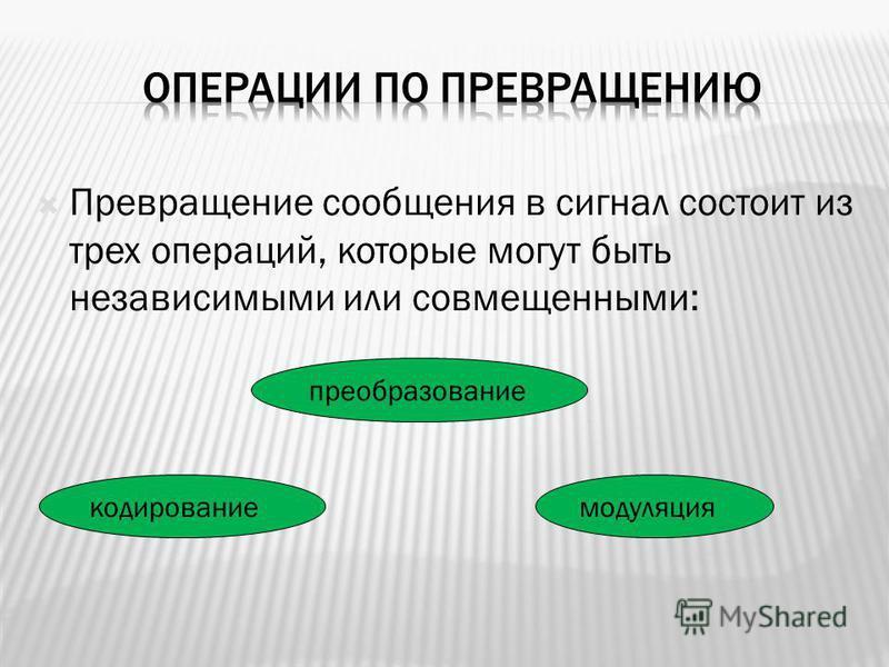 Превращение сообщения в сигнал состоит из трех операций, которые могут быть независимыми или совмещенными: преобразование кодирование модуляция