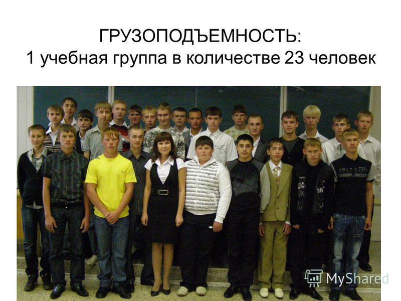 ГРУЗОПОДЪЕМНОСТЬ: 1 учебная группа в количестве 23 человек