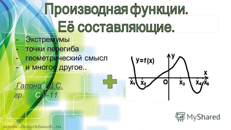 -Экстремумы -точки перегиба -геометрический смысл -и многое другое.. Гапонов Д.С. гр. СО-11