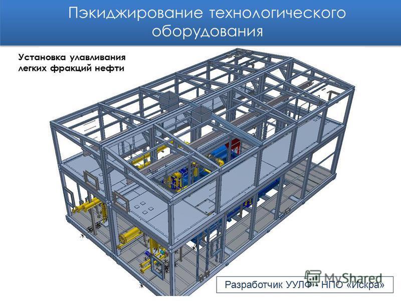 Пэкиджирование технологического оборудования Разработчик УУЛФ - НПО «Искра» Установка улавливания легких фракций нефти