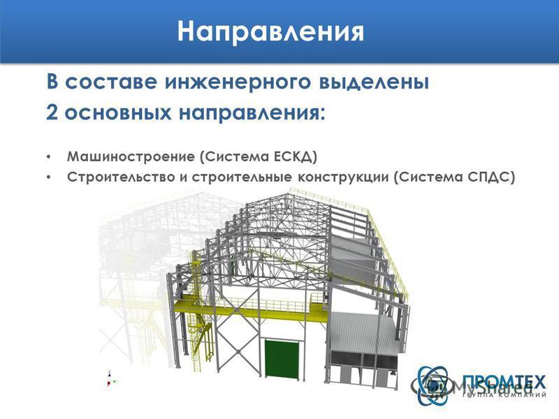 Направления В составе инженерного выделены 2 основных направления: Машиностроение (Система ЕСКД) Строительство и строительные конструкции (Система СПДС)