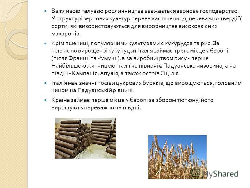 Важливою галуззю рослинництва вважається зернове господарство. У структурі зернових культур переважає пшениця, переважно тверді її сорти, які використовуються для виробництва високоякісних макаронів. Крім пшениці, популярними культурами є кукурудза т