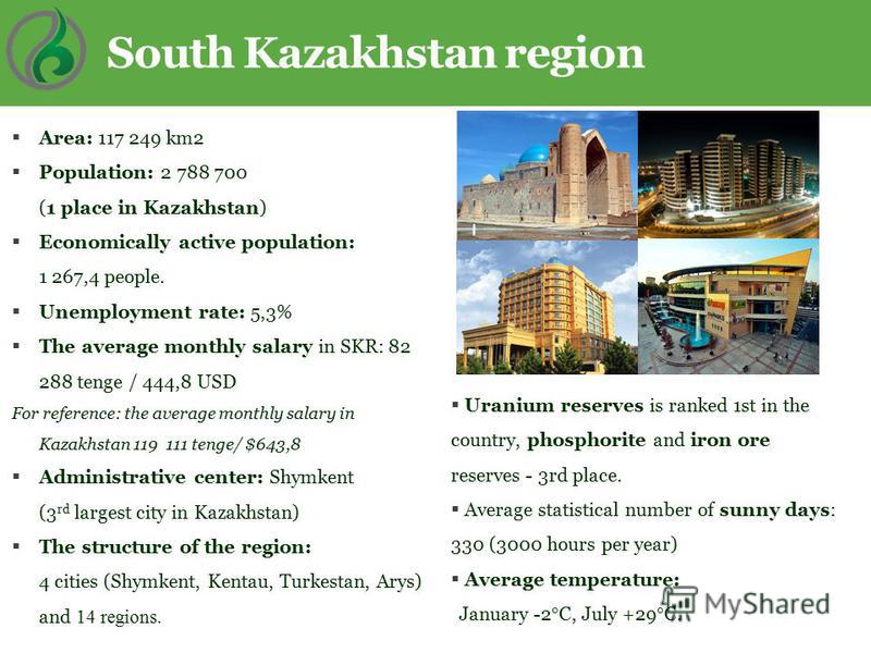 Area: 117 249 km2 Population: 2 788 700 (1 place in Kazakhstan) Economically active population: 1 267,4 people. Unemployment rate: 5,3% The average monthly salary in SKR: 82 288 tenge / 444,8 USD For reference: the average monthly salary in Kazakhsta