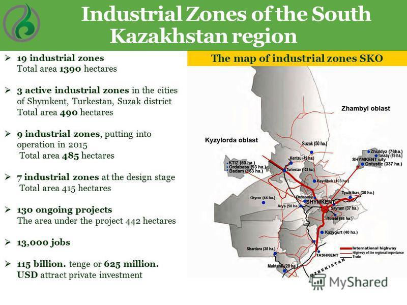 The map of industrial zones SKO Industrial Zones of the South Kazakhstan region 19 industrial zones Total area 1390 hectares 3 active industrial zones in the cities of Shymkent, Turkestan, Suzak district Total area 490 hectares 9 industrial zones, pu
