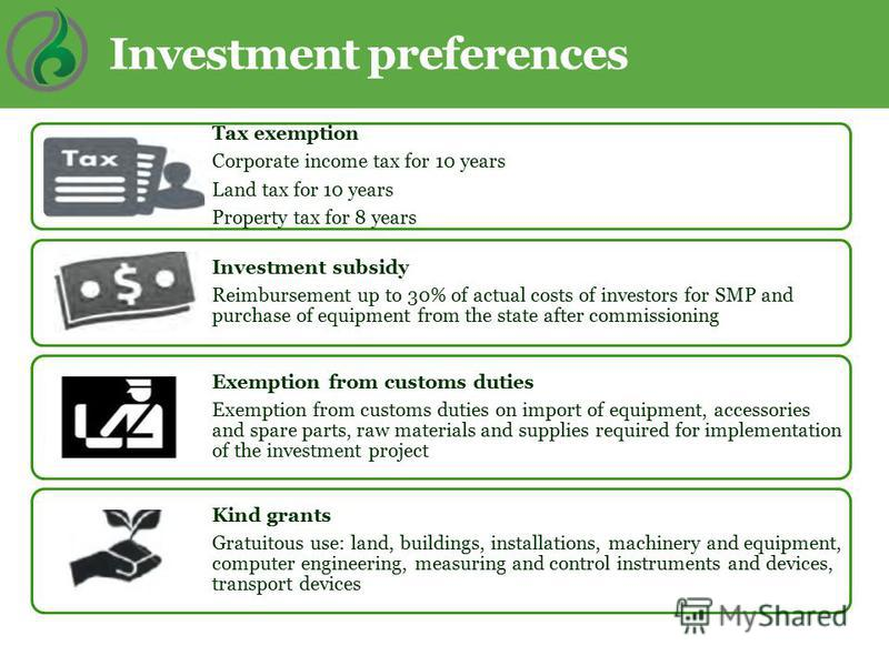 Investment preferences Tax exemption Corporate income tax for 10 years Land tax for 10 years Property tax for 8 years Investment subsidy Reimbursement up to 30% of actual costs of investors for SMP and purchase of equipment from the state after commi