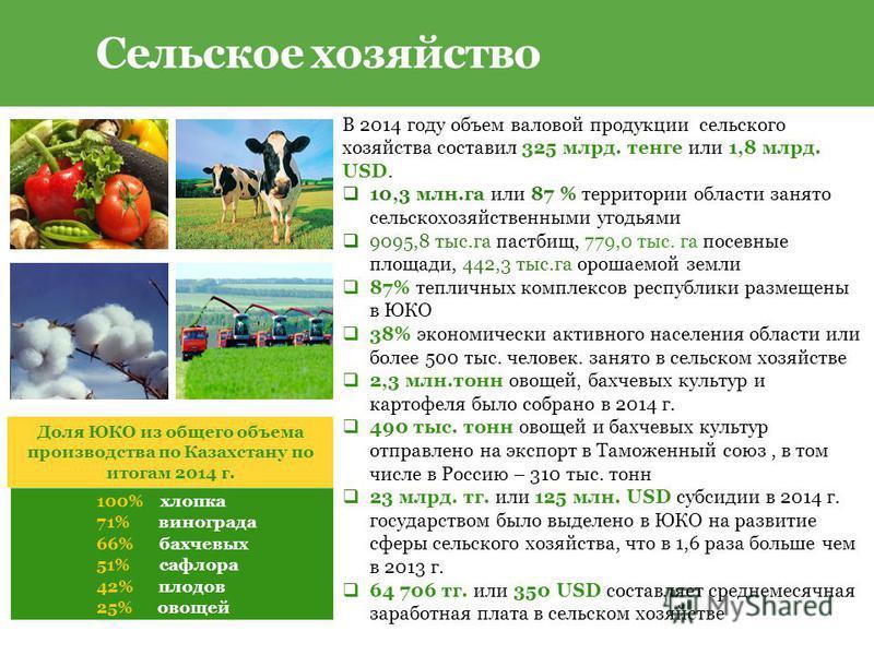 В 2014 году объем валовой продукции сельского хозяйства составил 325 млрд. тенге или 1,8 млрд. USD. 10,3 млн.га или 87 % территории области занято сельскохозяйственными угодьями 9095,8 тыс.га пастбищ, 779,0 тыс. га посевные площади, 442,3 тыс.га орош