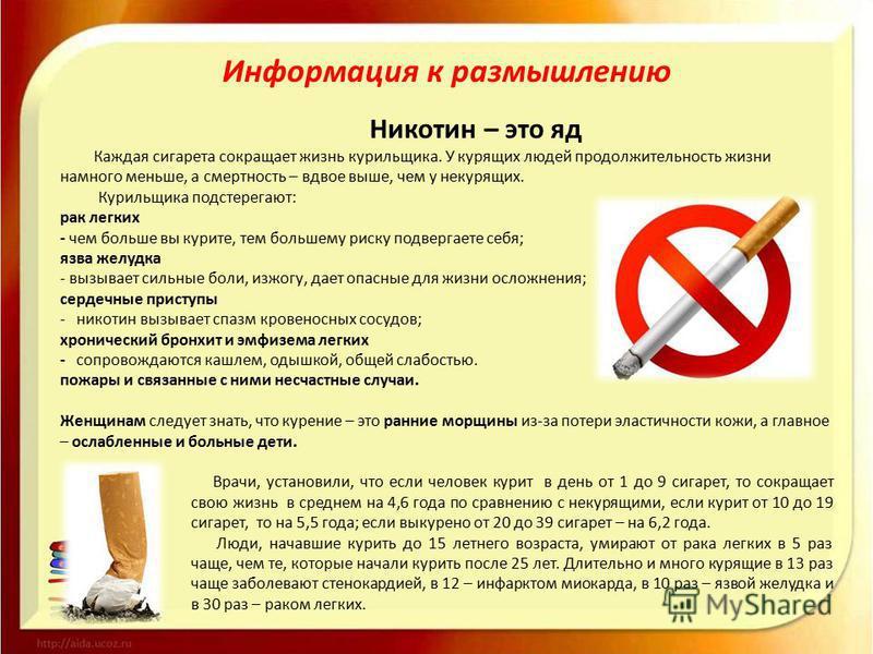 Информация к размышлению Никотин – это яд Каждая сигарета сокращает жизнь курильщика. У курящих людей продолжительность жизни намного меньше, а смертность – вдвое выше, чем у некурящих. Курильщика подстерегают: рак легких - чем больше вы курите, тем