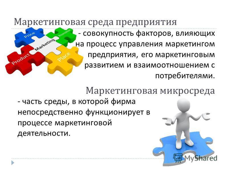 Маркетинговая среда предприятия - совокупность факторов, влияющих на процесс управления маркетингом предприятия, его маркетинговым развитием и взаимоотношением с потребителями. Маркетинговая микросреда - часть среды, в которой фирма непосредственно ф