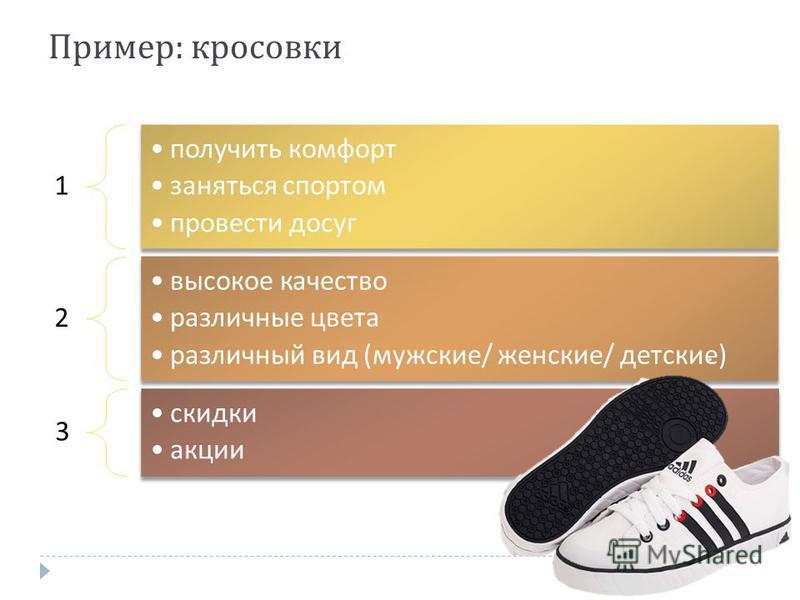 1 получить комфорт заняться спортом провести досуг 2 высокое качество различные цвета различный вид ( мужские / женские / детские ) 3 скидки акции Пример : кроссовки