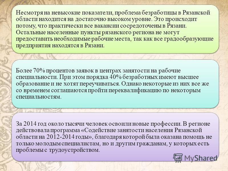 Несмотря на невысокие показатели, проблема безработицы в Рязанской области находится на достаточно высоком уровне. Это происходит потому, что практически все вакансии сосредоточены в Рязани. Остальные населенные пункты рязанского региона не могут пре