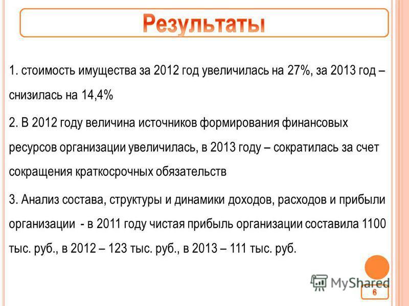 1. стоимость имущества за 2012 год увеличилась на 27%, за 2013 год – снизилась на 14,4% 2. В 2012 году величина источников формирования финансовых ресурсов организации увеличилась, в 2013 году – сократилась за счет сокращения краткосрочных обязательс