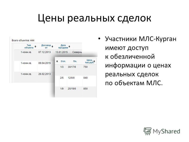 Цены реальных сделок Участники МЛС-Курган имеют доступ к обезличенной информации о ценах реальных сделок по объектам МЛС.