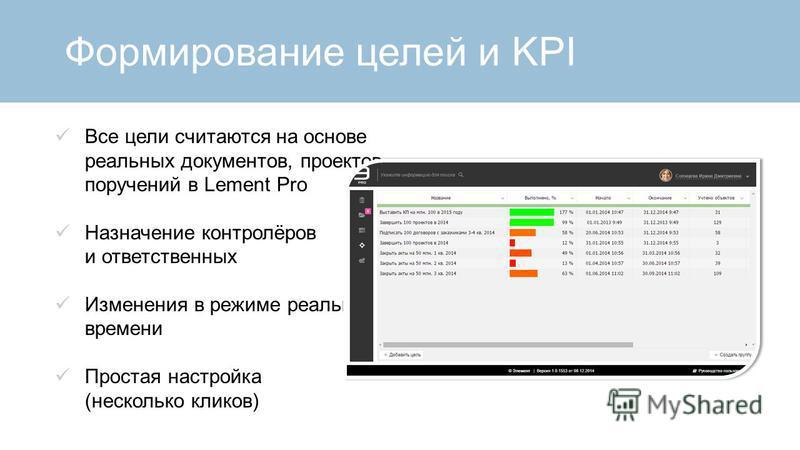 Формирование целей и KPI Все цели считаются на основе реальных документов, проектов, поручений в Lement Pro Назначение контролёров и ответственных Изменения в режиме реального времени Простая настройка (несколько кликов)