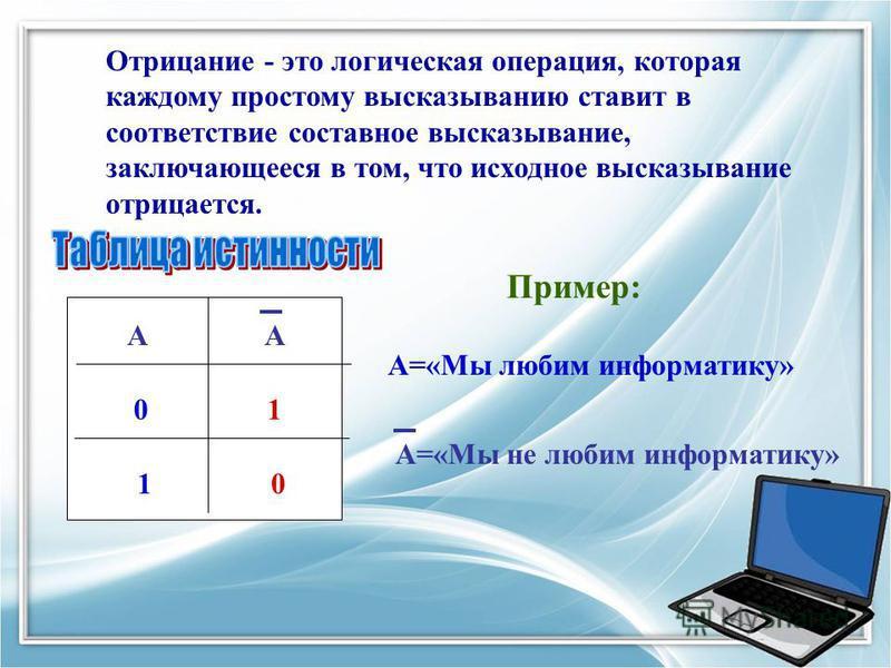 Отрицание - это логическая операция, которая каждому простому высказыванию ставит в соответствие составное высказывание, заключающееся в том, что исходное высказывание отрицается. АА 01 1 0 Пример: А=«Мы любим информатику» А=«Мы не любим информатику»