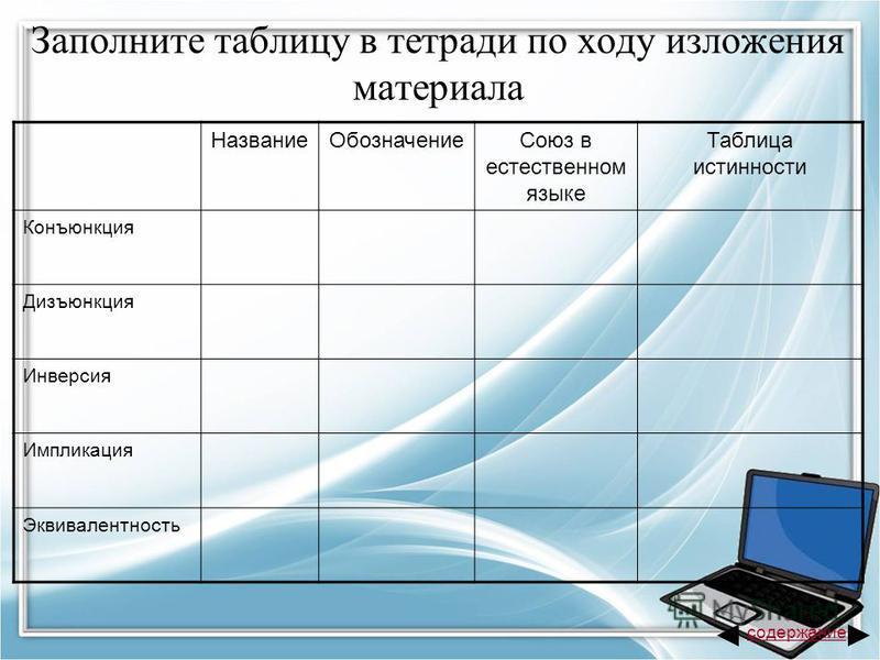 Заполните таблицу в тетради по ходу изложения материала Название ОбозначениеСоюз в естественном языке Таблица истинности Конъюнкция Дизъюнкция Инверсия Импликация Эквивалентность содержание
