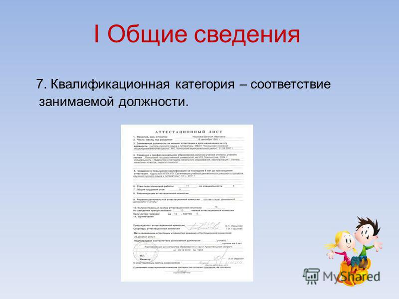 I Общие сведения 7. Квалификационная категория – соответствие занимаемой должности.