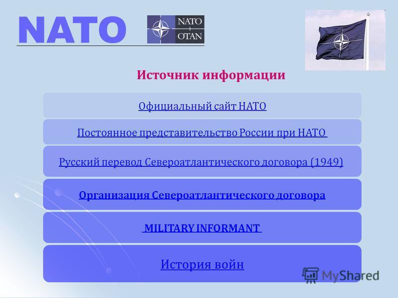 Организация Североатлантического договора История войн Официальный сайт НАТО Постоянное представительство России при НАТО Русский перевод Североатлантического договора (1949) MILITARY INFORMANT NATO Источник информации