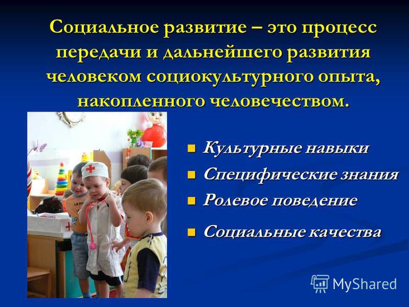 Социальное развитие – это процесс передачи и дальнейшего развития человеком социокультурного опыта, накопленного человечеством. Культурные навыки Культурные навыки Специфические знания Специфические знания Ролевое поведение Ролевое поведение Социальн