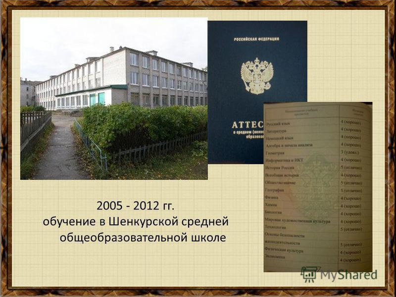 2005 - 2012 гг. обучение в Шенкурской средней общеобразовательной школе