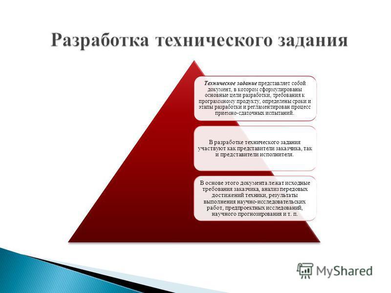 Техническое задание представляет собой документ, в котором сформулированы основные цели разработки, требования к программному продукту, определены сроки и этапы разработки и регламентирован процесс приемно-сдаточных испытаний. В разработке техническо