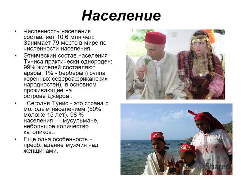 Население Численность населения составляет 10,6 млн чел. Занимает 79 место в мире по численности населения. Этнический состав населения Туниса практически однороден: 99% жителей составляют арабы, 1% - берберы (группа коренных североафриканских народн