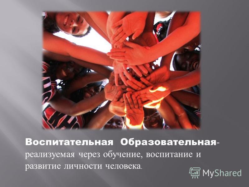 Воспитательная Образовательная - реализуемая через обучение, воспитание и развитие личности человека.