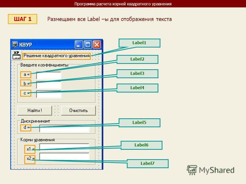 Программа расчета корней квадратного уравнения ШАГ 1 Размещаем все Label –ы для отображения текста Label1 Label2 Label3 Label4 Label5 Label6 Label7