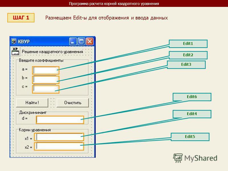 Программа расчета корней квадратного уравнения ШАГ 1 Размещаем Edit-ы для отображения и ввода данных Edit1 Edit2 Edit3 Edit6 Edit4 Edit5