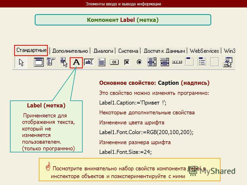 Элементы ввода и вывода информации Компонент Label (метка) Label (метка) Применяется для отображения текста, который не изменяется пользователем. (только программно) Основное свойство: Caption (надпись) Это свойство можно изменять программно: Label1.