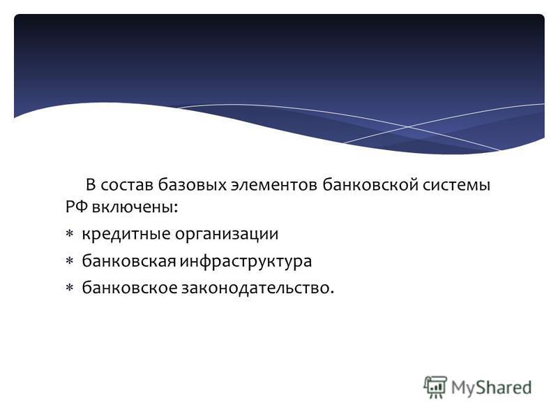 В состав базовых элементов банковской системы РФ включены: кредитные организации банковская инфраструктура банковское законодательство.