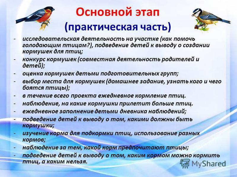 Основной этап (практическая часть) -исследовательская деятельность на участке (как помочь голодающим птицам?), подведение детей к выводу о создании кормушек для птиц; -конкурс кормушек (совместная деятельность родителей и детей); -оценка кормушек дет