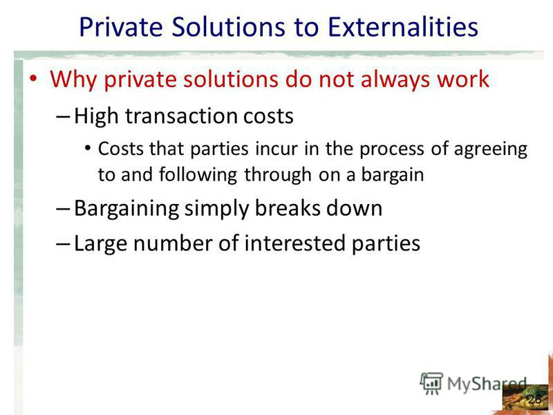 Private Solutions to Externalities Why private solutions do not always work – High transaction costs Costs that parties incur in the process of agreeing to and following through on a bargain – Bargaining simply breaks down – Large number of intereste