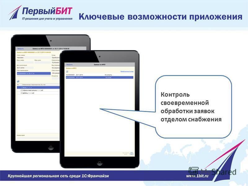 Ключевые возможности приложения Контроль своевременной обработки заявок отделом снабжения