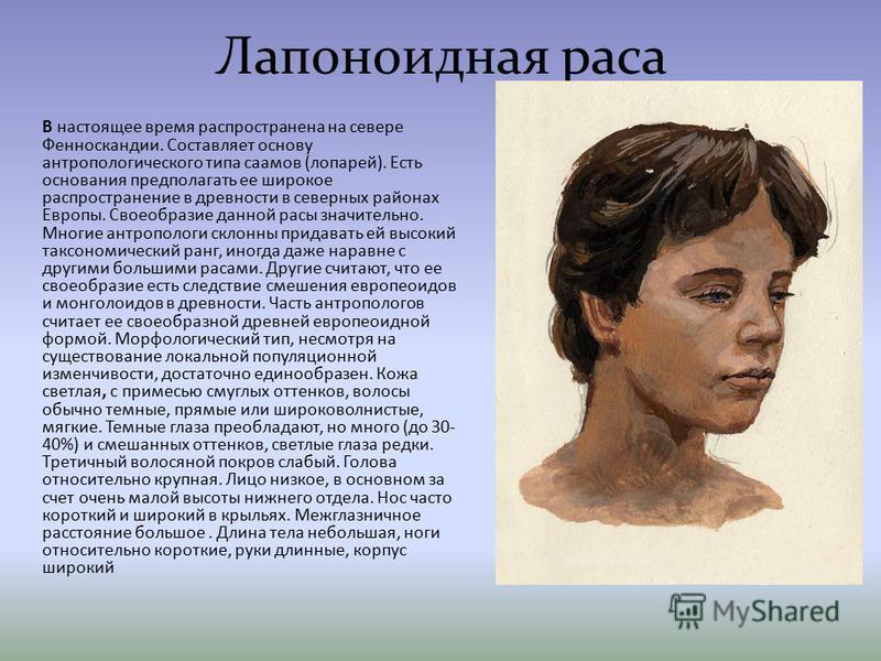 Лапоноидная раса В настоящее время распространена на севере Фенноскандии. Составляет основу антропологического типа саамов (лопарей). Есть основания предполагать ее широкое распространение в древности в северных районах Европы. Своеобразие данной рас