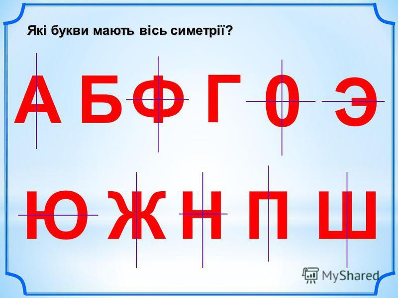 Які букви мають вісь симетрії? АБ Г Ж Э ЮНШ 0 П Ф