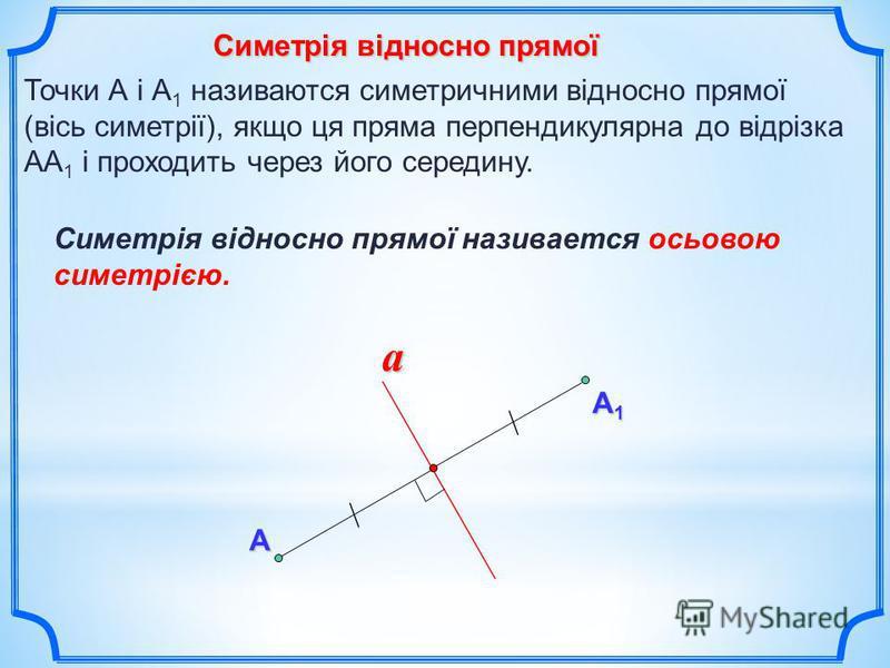 Симетрія відносно прямої А А1А1А1А1 a Точки А і А 1 називаются симетричними відносно прямої (вісь симетрії), якщо ця пряма перпендикулярна до відрізка АА 1 і проходить через його середину. Симетрія відносно прямої називается осьовою симетрією.