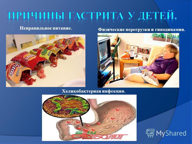 Неправильное питание. Физические перегрузки и гиподинамия. Хеликобактерная инфекция.