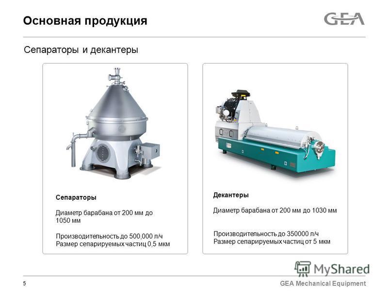GEA Mechanical Equipment Основная продукция 5 Сепараторы Диаметр барабана от 200 мм до 1050 мм Производительность до 500,000 л/ч Размер сепарируемых частиц 0,5 мкм Сепараторы и декантеры Декантеры Диаметр барабана от 200 мм до 1030 мм Производительно