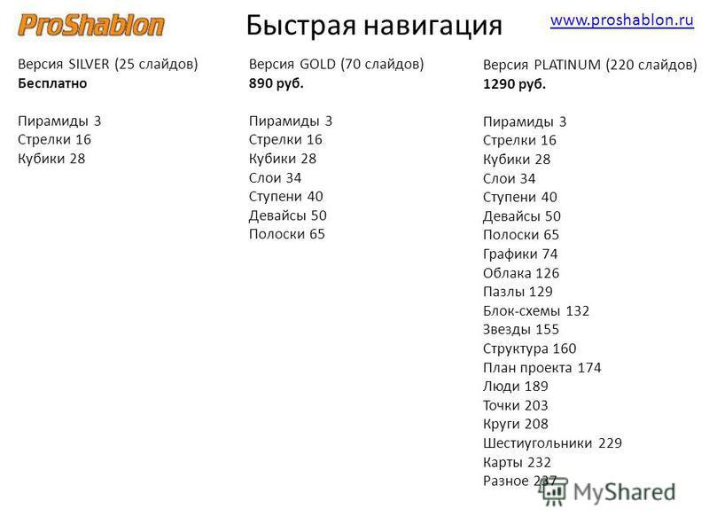 www.proshablon.ru Версия SILVER (25 слайдов) Бесплатно Пирамиды 3 Стрелки 16 Кубики 28 Быстрая навигация Версия GOLD (70 слайдов) 890 руб. Пирамиды 3 Стрелки 16 Кубики 28 Слои 34 Ступени 40 Девайсы 50 Полоски 65 Версия PLATINUM (220 слайдов) 1290 руб