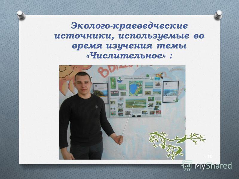 Эколого-краеведческие источники, используемые во время изучения темы «Числительное» : 10