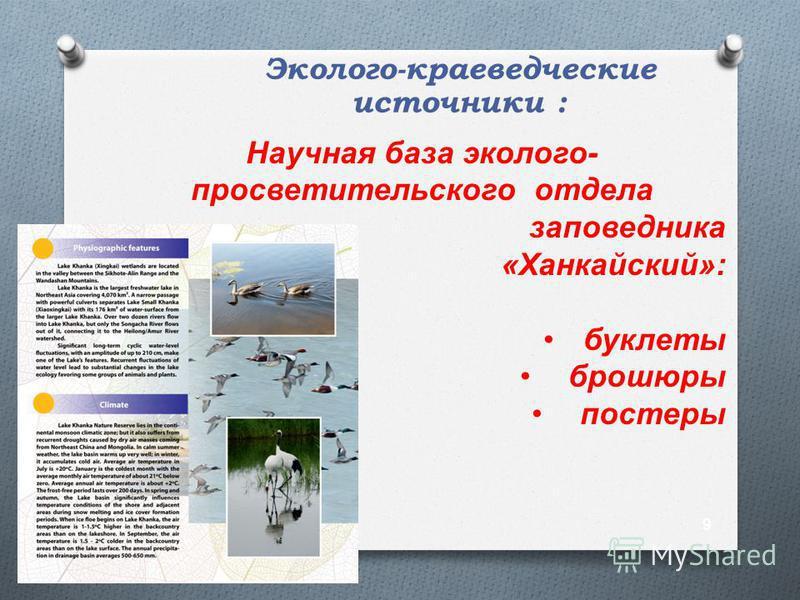 Эколого-краеведческие источники : Научная база эколого- просветительского отдела заповедника «Ханкайский»: буклеты брошюры постеры 9