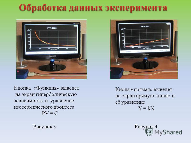 Рисунок 3Рисунок 4 Кнопка «Функция» выведет на экран гиперболическую зависимость и уравнение изотермического процесса PV = C Кнопа «прямая» выведет на экран прямую линию и её уравнение Y = kX