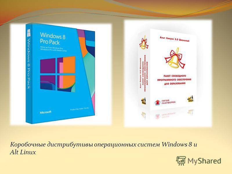 Коробочные дистрибутивы операционных систем Windows 8 и Alt Linux