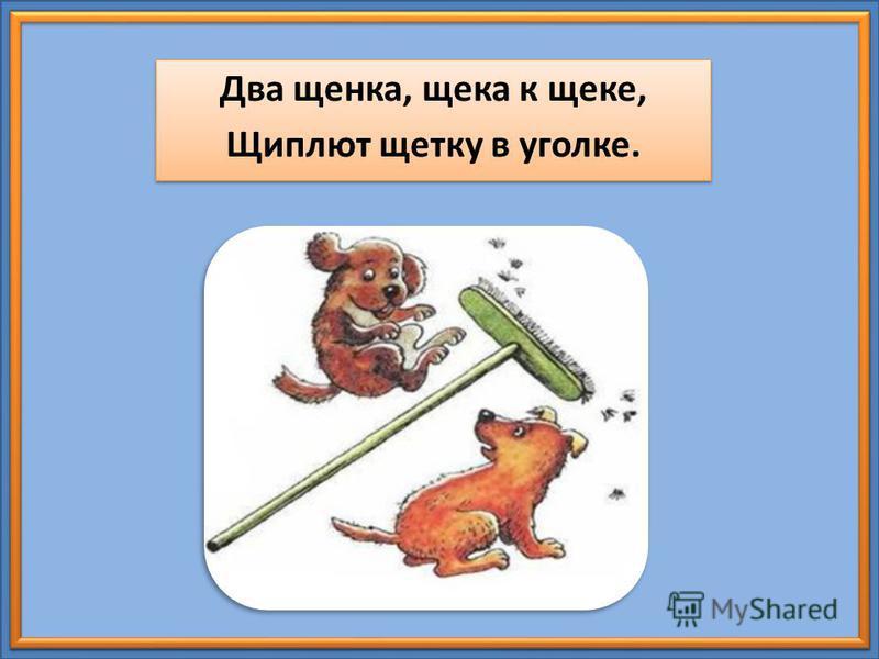 Два щенка, щека к щеке, Щиплют щетку в уголке. Два щенка, щека к щеке, Щиплют щетку в уголке.