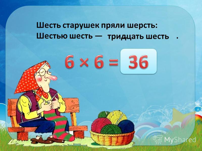 Шесть старушек пряли шерсть: Шестью шесть …. тридцать шесть