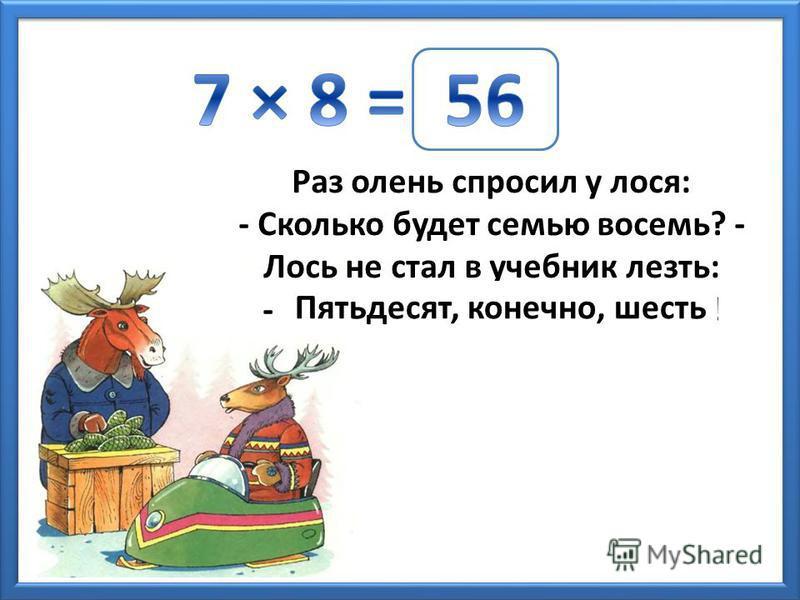 Раз олень спросил у лося: - Сколько будет семью восемь? - Лось не стал в учебник лезть: - … ! Пятьдесят, конечно, шесть
