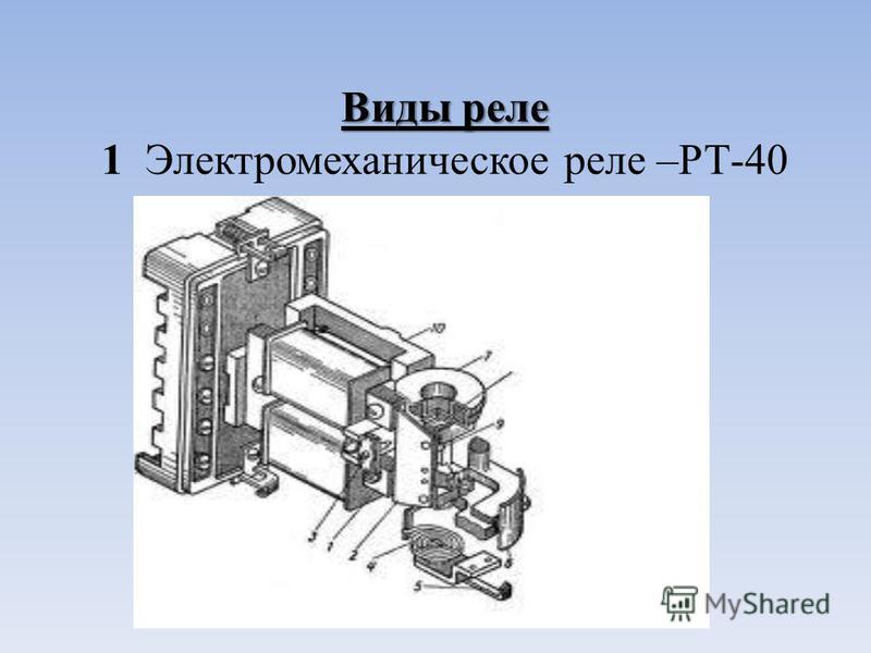 Виды реле Виды реле 1 Электромеханическое реле –РТ-40