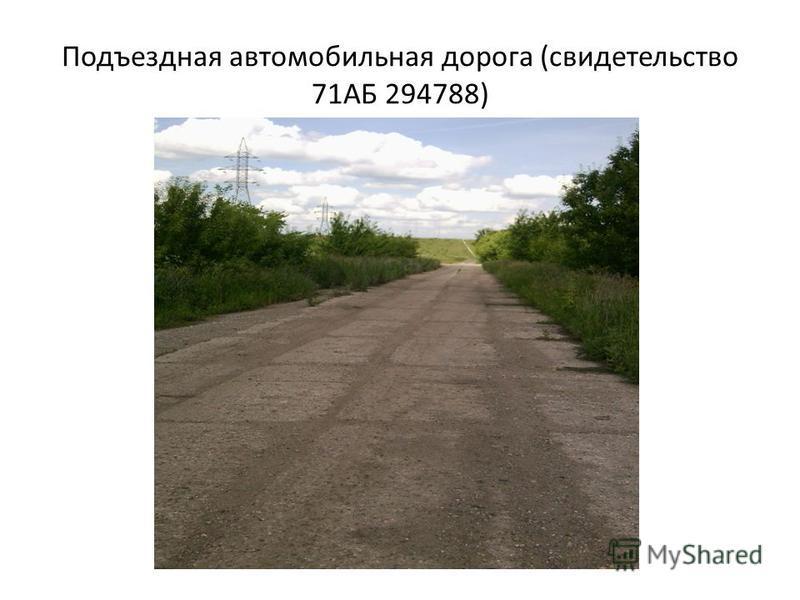 Подъездная автомобильная дорога (свидетельство 71АБ 294788)